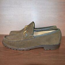 Gucci Suede Olive Gold Horsedit Vintage Mens Loafer Shoes sz 43