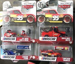 2021 DISNEY PIXAR CARS NASCAR COMPLETE SET OF 4 MCQUEEN STORM GUIDO MATER