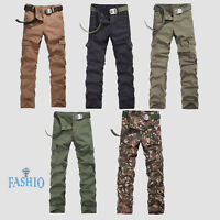 Mens Cargo Pants Casual Slim Fit Combat Trouser Camouflage Army Denim Jeans Pant