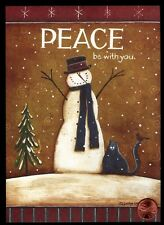 Christmas Snowman Black Cat Cardinal Bird Snowing Christmas Greeting Card - New