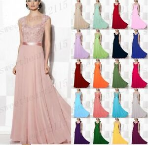 Long Chiffon Lace Formal Prom Bridesmaid Evening Ball Gown Party Dress Size 6-28