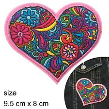 floral heart iron on patch hippie retro hippy flower power love iron-on patches