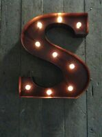 LED LIGHT CARNIVAL CIRCUS  RUST  METAL LETTER  S - WALL OR FREE STANDING 13 INCH