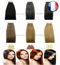 10 20 30 40 EXTENSIONS CHEVEUX NATURELS TAPE BANDES ADHESIVES REMY HAIR 53-60 CM