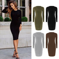 Autumn Spring Women Long Sleeve Dress Bodycon Sexy Slim Fit O-neck Casual Dress