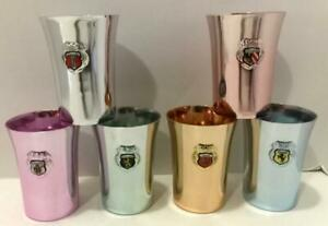 COLORED ALUMINUM SHOT GLASSES WEST GERMAN EMBLEMS IRONAL