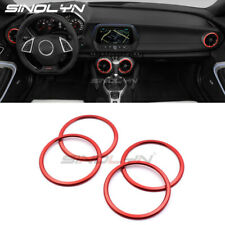 4PCS Red Interior Air Vent Outlet Ring Cover Trim For Chevrolet Camaro 2017 2018