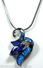 """925 Sterling Silver 18"""" Necklace with Tanzanite & Blue Fire Opal Inlay Pendant"""