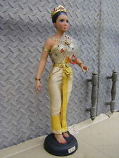 Vtg Thailand Doll Statue Sculpture Thai Girl Dress National Costume Chic Shabby
