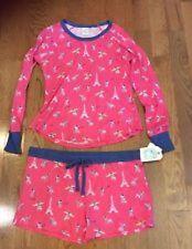 Nite Nite Munki Munki Long Sleeve/ Short Pajama Set,Paris Dog, Pink, X-Large
