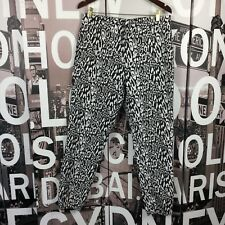 Bebe Black White Elastic Ankle Dress Pants Size 12