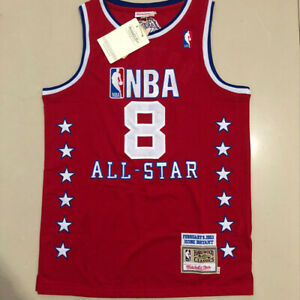 03 All Star Kobe Bryant 8 Los Angeles Lakers WEST Hardwood Classics Jersey Red