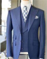 Men Suit 3 Piece Slim Wedding Bridegroom Tuxedos Peak Lapel Business Suit 40R ++