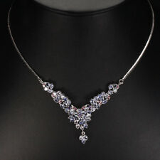 Real GEM Blue Violet Tanzanite, Amethyst, Ruby 925 Sterling Silver BIB Necklace