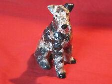 Funky vintage porcelain pottery Airedale Terrier dog figurine, speckled finish