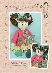 MILLIE & ROSE - Rag Doll Sewing Craft PATTERN - Shabby Chic Cloth Doll