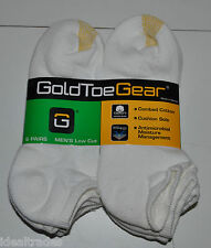GOLD TOE GEAR MENS LOW CUT PEDS SOCKS 6 PAIRS COMBED COTTON CUSHION SOLE NEW**