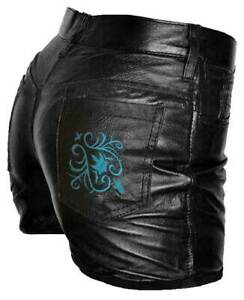 Ladies Black Real Leather Shorts with Light Blue Embroidery - AUS SELLER