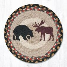 "BLACK BEAR & MOOSE 100% Natural Jute Swatch, 10"" Trivet/Placemat, by Earth Rugs"