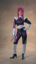 Space Alien Costume Ladies 2 Pc Purp & Silver Metallic Fabric Jumpsuit & Belt Sm