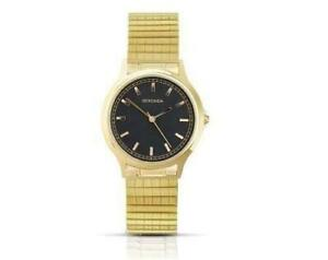 Sekonda Mens Gold Plated Black Dial Expanding Bracelet Watch 3141B
