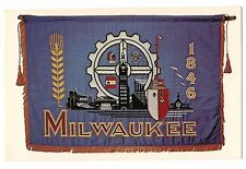 CITY of MILWAUKEE Official FLAG Assets in the  Symbols WISCONSIN Postcard WI