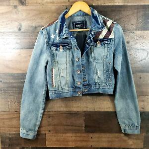 Rue 21 Stars & Stripes Distressed Blue Jean Denim Jacket Size L