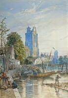 DORDRECHT CANAL NETHERLANDS Antique Watercolour Painting - 19TH CENTURY