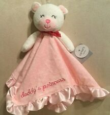 Carters Pink Daddy's Princess security blanket velour & satin plush rattle New