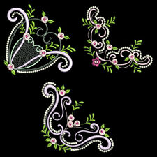 DELICATE ROSE CORNERS - 30 MACHINE EMBROIDERY DESIGNS (AZEB)