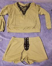 New womens long sleeve crew neck tshirt crop top & shorts lace up 2 pcs medium