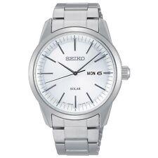 Seiko Conceptual Solar Weißes Zifferblatt Silber Stahl Armband Herren SNE523P1