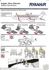 Safety Card - Ryanair - Super One Eleven - BAC 1-11 WITH 509 Oxygen Ref (S3375)