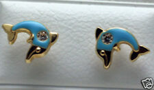 Solid 14K Gold Yellow Gold Cute Blue Dolphin CHILDREN Earrings SCREW BACKS