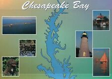 The Chesapeake Bay, Maryland, Lighthouse, Sail Boat, Dog, Bridge etc. - Postcard