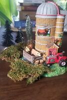 """Lemax Village Collection Davis & Son's Farm 8"""" Tall w Tractor and Cows & Extras"""