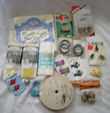 Vintage Lot of 17 Sewing Notions Buttons, Rick rack, Buckles, Trim, Thimbles