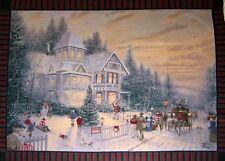 "Fleece Fabric - Thomas Kinkade Victorian Christmas -  Anti-Pill 44""x60"" Panel"