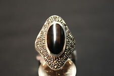 NEW STERLING SILVER ONYX & MARCASITE DRESS RING (10.62gms)(N 1/2, 7) # 48094