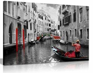 Venice Gondolas Black & White Red Canvas Wall Art Picture Print