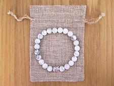 Silver Buddha, White Howlite Beaded Semi Precious Bracelet & Jute Gift Bag