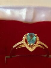 New Stunning Diamond Pave' Ring Set With A Flawless Pear Shape Topaz Handmade