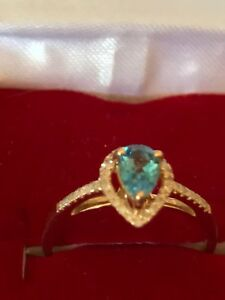 New Stunning 10ct Gold Diamond Pave Ring With Pear Shape Flawless Topaz Size 6.5