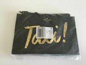 Kate Spade On Purpose Taxi Mini Leather Wristlet Black/Gold Sequin UVRU0221 NWT