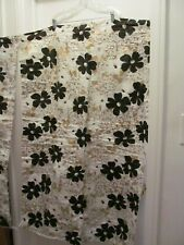 Vintage NEW Retro MCM Shower Curtain Floral Black Gold & White ~ Beautiful!
