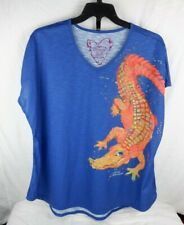 New ListingLeoma Lovegrove Womens Alligator Graphic Watercolor Wearable Art Shirt Size Xxxl