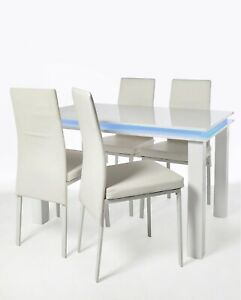 5 Piece LED High Gloss Dining Table & 4 Chairs Kitchen Furniture Set