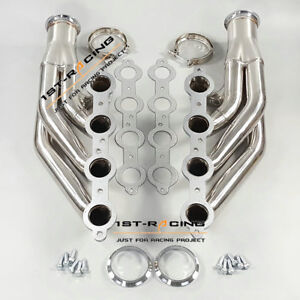 FOR CHEVY LS1 LS6 LSX POLISHED STAINLESS STEEL TWIN TURBO MANIFOLDS FRONT MOUNT
