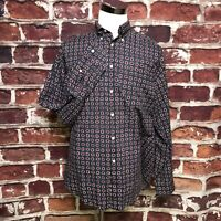 Vintage Tommy Hilfiger Gray Red Geometric Button Down Shirt Mens Lg Long Sleeve