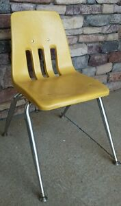 "15"" Virco Hard Plastic Yellow School Student Homeschool Activity Chair"